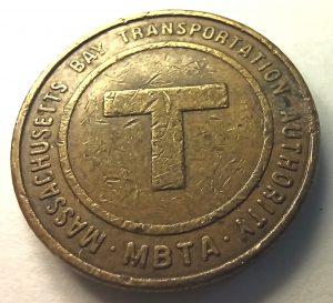 Жетон * Транспорт * Massachussetts Boston 1988 MBTA * США * USA * ЖД * Железная дорога