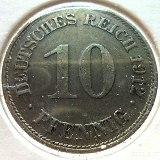 Германская империя 10 пфенингов 1912 года